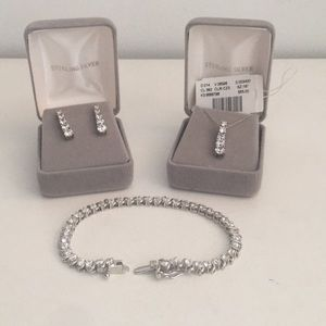 Jewelry - Sterling Silver Earring, Bracelet & Necklace Set